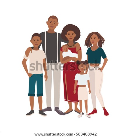 Happy large black family portrait. Father, mother, sons and daughters together. Vector illustration of a flat design.