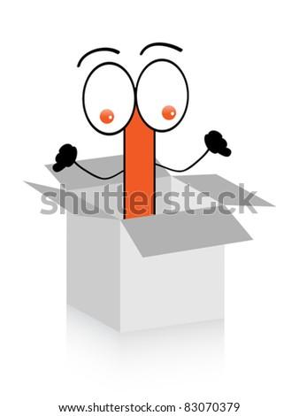 happy letter i in box