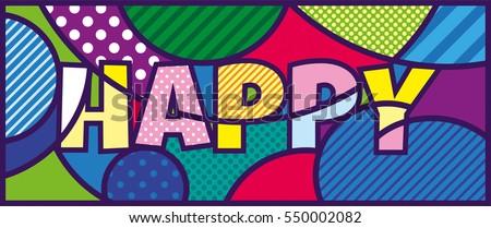 happy lettering pop art