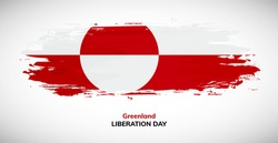 Happy liberation day of Greenland. Brush flag of Greenland vector illustration. Abstract watercolor concept of national brush flag background.