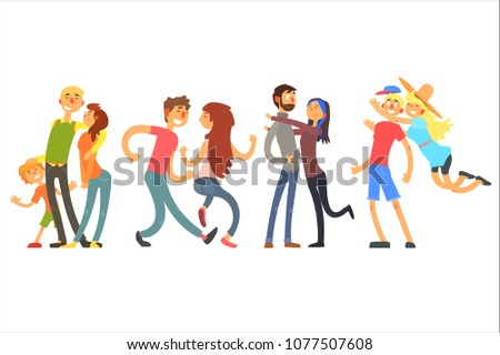 Happy life moments family with kid, dancing and hugging couples. Young people having fun together. Parents with child. Flat vector design