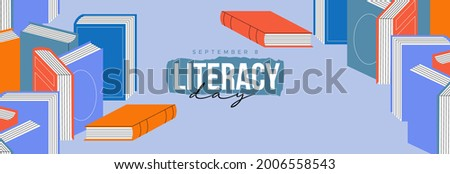 Happy literacy day greeting card illustration of colorful book pile with reading typography quote. September 8 holiday event design concept.