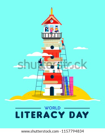 Happy Literacy Day illustration, beach lighthouse tower made of children books. Kids building countries culture together for international education concept. EPS10 vector.