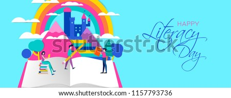 Happy Literacy Day illustration, people with pencils and books in imagination landscape. Concept design for children education. EPS10 vector.