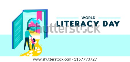 Happy Literacy Day web banner illustration of girl entering book door with dad. Children imagination concept for reading education. EPS10 vector.