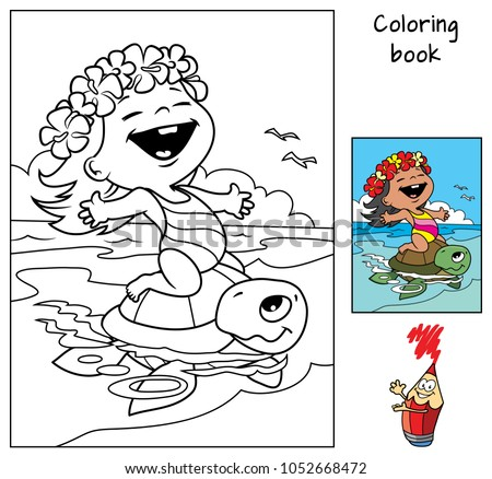 Happy little baby girl in a swimsuit and a Hawaiian wreath  riding a sea turtle. Coloring book. Cartoon vector illustration