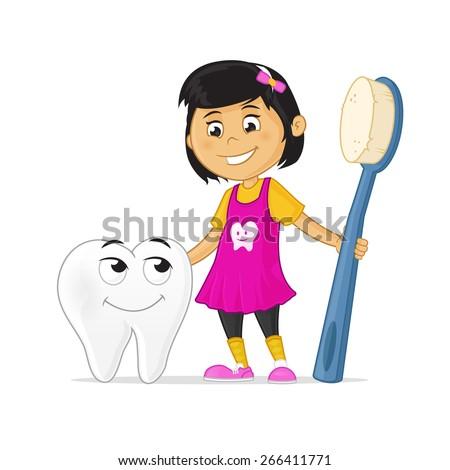 happy little cartoon girl