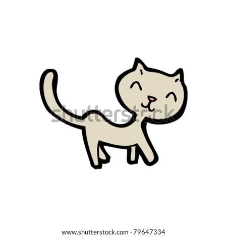 happy little cat cartoon
