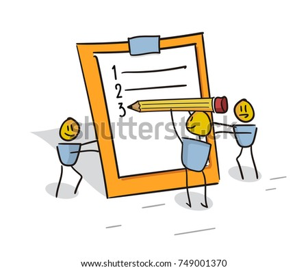 Happy little characters working as a team filling the to do list planner. Doodle illustration for business and other concepts related with efficiency, team work and organization