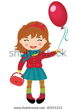 Happy little girl holding a red balloon