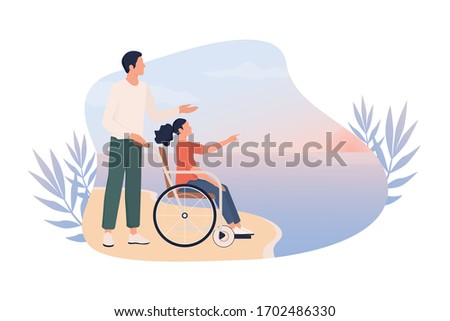 Happy little girl on wheelchair with her father on a beach. Disabled child has fun outside, world without barriers for disabled people concept. Web banner or poster idea. Flat vector illustration