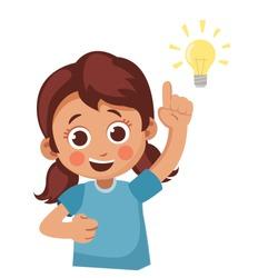 happy little girl shows finger up. child got new idea. cartoon vector illustration