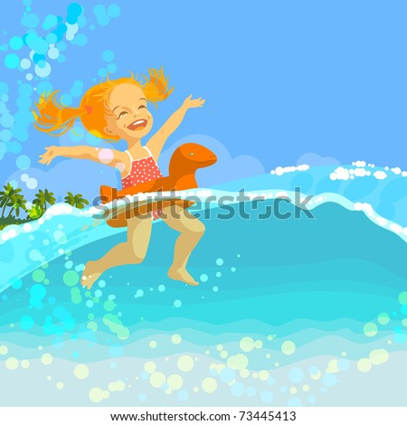 Happy little girl swim in inflatable ring in sea at sunny summer day