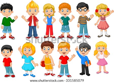 Happy little kids collection set. isolated on white background