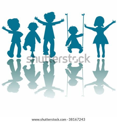 happy little kids silhouettes