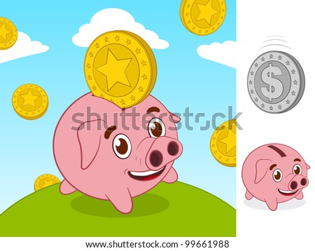 Happy little piggy bank and gold coin
