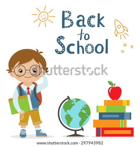 Happy little schoolboy, globe and books on white background for back to school design