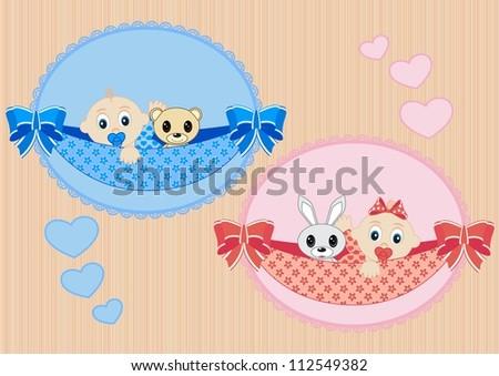 happy little sleeping children boy and girl - stock vector