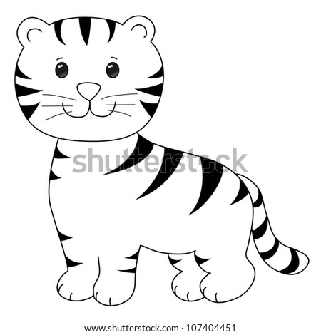 happy little tiger cartoon, line art, coloring