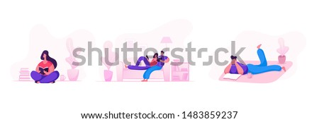 Happy Loving Couple Weekend Sparetime at Home Set Isolated on White Background. Male and Female Characters Spending Time at Leisure Reading Books Together and Relaxing Cartoon Flat Vector Illustration