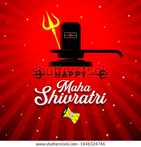 Happy Maha Shivrati Concept, Template, Banner, Logo Design, Icon, Poster, Unit, Label, Web, Symbol, Sign, Mnemonic with celebration in background. Shiv ling, Trishul and Damaru - Vector, Illustration Stock photo ©