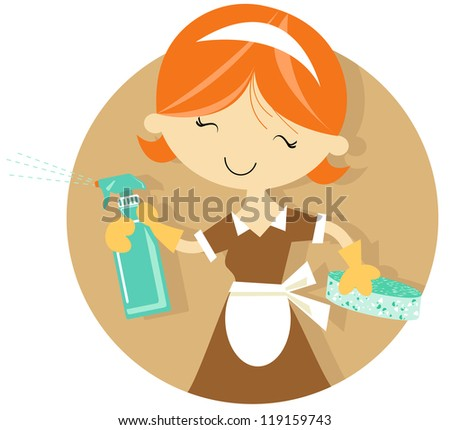 happy maid in uniform cleaning