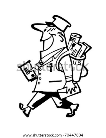Happy Mailman - Retro Clipart Illustration