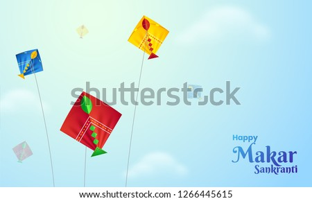 Happy Makar Sankranti poster design with illustration of colorful kites flying sunny weather background. ストックフォト ©