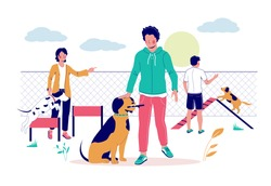 Happy male and female characters teaching their pet dogs to perform commands on puppy playground, vector flat illustration. Dog training classes with coach concept for poster, banner etc.