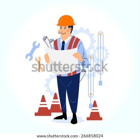 happy male engineer working on site