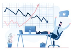 Happy male investor or trader on modern workplace. Growing chart breaks a falling chart, financial profit. Business workspace and businessman character isolated on white background.Trendy style vector
