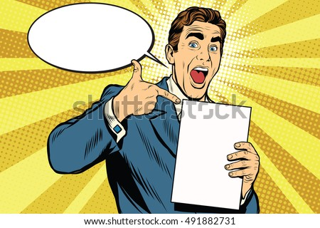 Happy male with the document or diploma, pop art retro vector illustration
