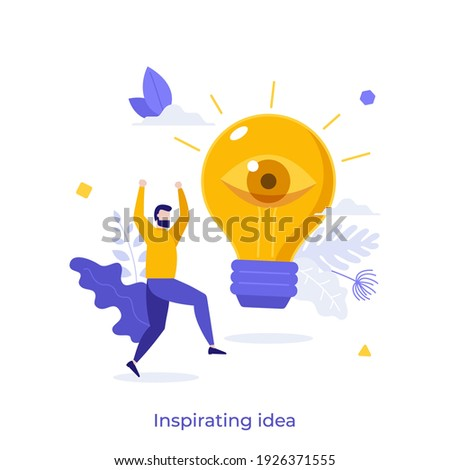 Happy man and glowing lightbulb with open eye. Concept of inspiring creative idea, insight or breakthrough, business vision, discovery of innovative technology. Modern flat vector illustration. Foto stock ©