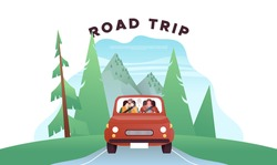 Happy man and woman driving car in front view, retro vehicle on mountain forest landscape background. Modern flat cartoon character illustration for road trip adventure concept.
