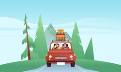 Happy man and woman driving car in front view, retro vehicle on mountain forest landscape background. Modern flat cartoon character illustration for road trip vacation concept.