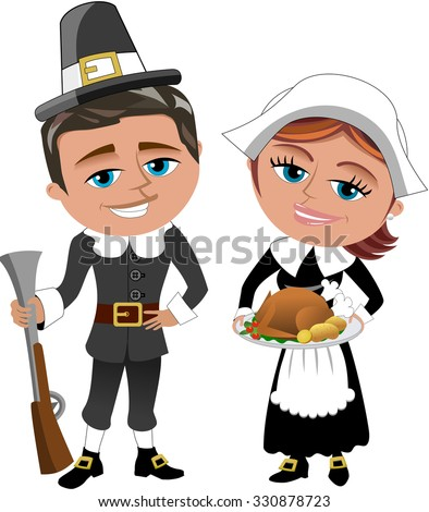 happy man and woman pilgrims