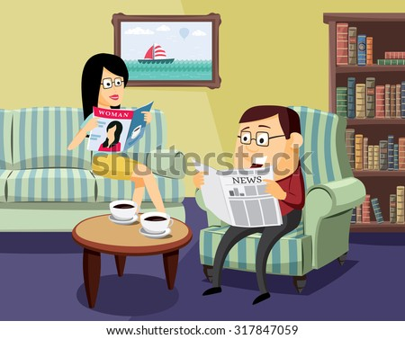 happy man and woman reading a