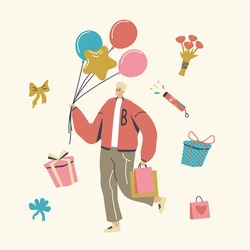 Happy Man Carry Balloons and Gifts in Paper Bags or Boxes Wrapped with Festive Bow. Male Character Prepare Presents for Family or Friends on Holiday or Birthday Celebration. Linear Vector Illustration
