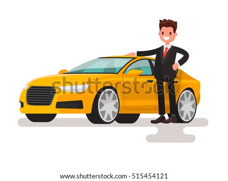 Happy man dressed in a suit next to the car. The seller or the owner of a new machine. Vector illustration in a flat style #515454121