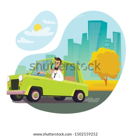 Happy Man Driving Classic Serviceable Car Illustration. Vector City Transportation Traffic. Flat Urban Cityscape Backdrop. Male Character Riding Green Sedan Retro Automobile. Citizen Life