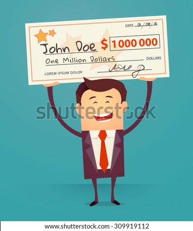 Happy man holding large check of one million dollar in hands. Bib win lottery. Vector illustration