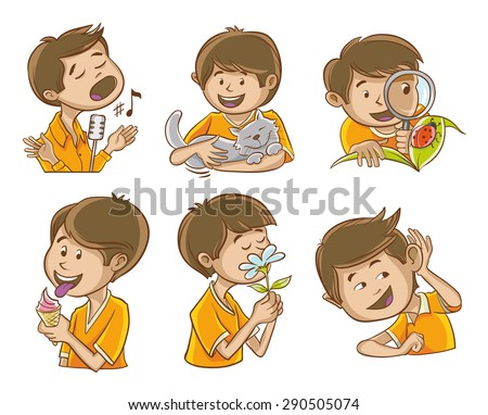 Happy man illustrates the five senses of man. And additional images of the singer. Stockfoto ©