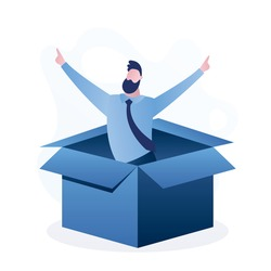 Happy man in an opened cardboard box. Successful businessman in box. Job seeker or developer of new startup product. Male character in trendy blue simple style. Flat vector illustration