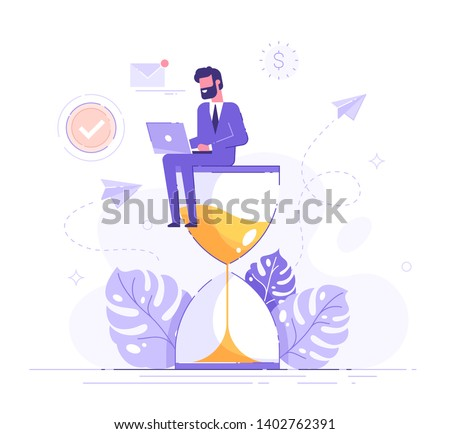 Happy man in formal suit sitting on an hourglass and working on her laptop business process icons and infographics on background. Multitasking, productivity and time management concept. Flat vector.