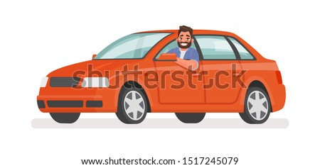 Happy man in the car. Motorist driving a vehicle on an isolated background. Vector illustration in cartoon style Сток-фото ©