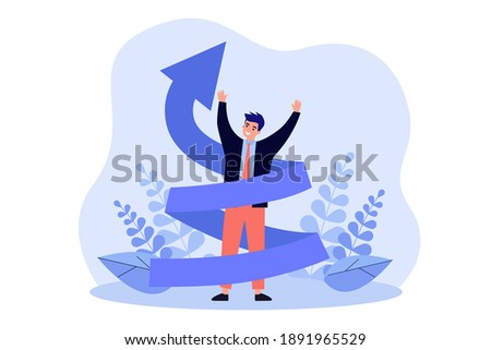 Happy man increasing career flat vector illustration. Cartoon positive character in suit with upward twisting or spiral arrow. Education and knowledge evolution concept