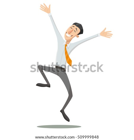 happy man is jumping vector