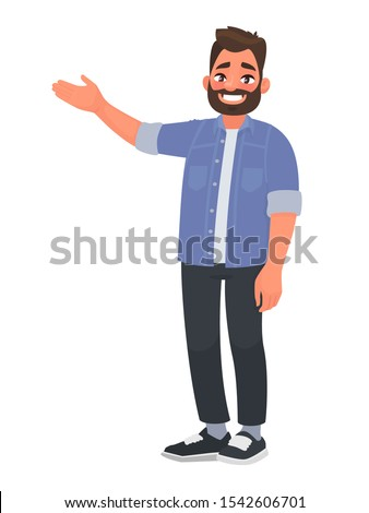 Happy man points to something. Character for advertisement. Guy shows a direction with a hand. Vector illustration in cartoon style
