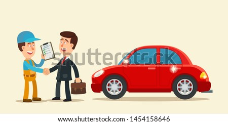 Happy man shakes hands with a mechanic in the repair shop. Car repair is complete, driver get a repaired car. Business vector illustration, flat cartoon style. Isolated background, side view.