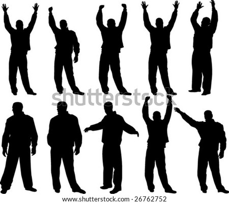 Happy man silhouettes